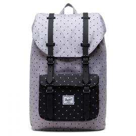 polka dot crosshatch grey black