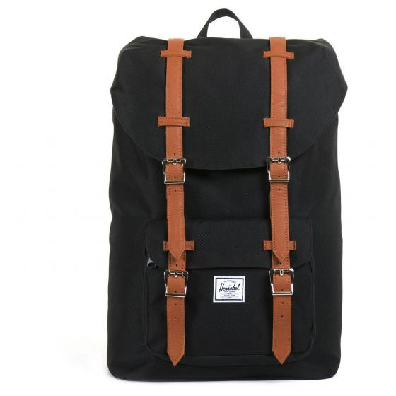 Little America Mid-Volume Rucksack 40.5 cm black/tan synthetic leather