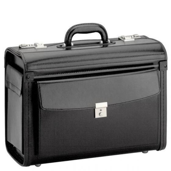 Business & Travel Pilotenkoffer Leder mit 2 Verschlüssen 46 cm Vortasche schwarz