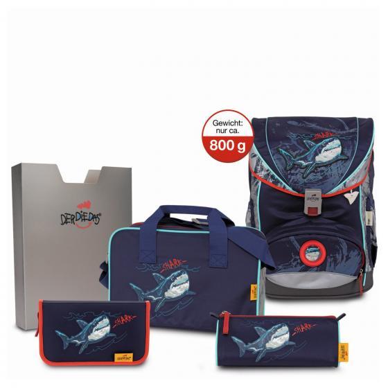 ErgoFlex Exklusiv SuperFlash Schulrucksack Set 5 tlg. Blue Shark