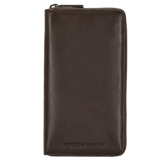 Business Wallet 15 Zipper Geldbörse RFID 21 cm dark brown