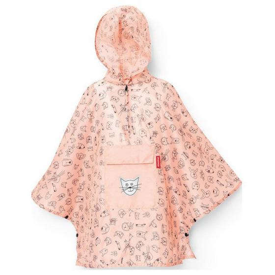 kids collection mini maxi poncho / Kinder-Regencape 93 cm cats and dogs rose