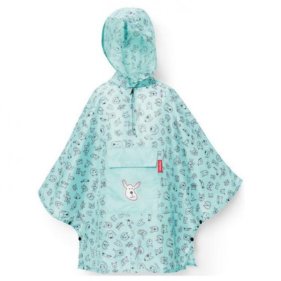 kids collection mini maxi poncho / Kinder-Regencape 93 cm cats and dogs mint