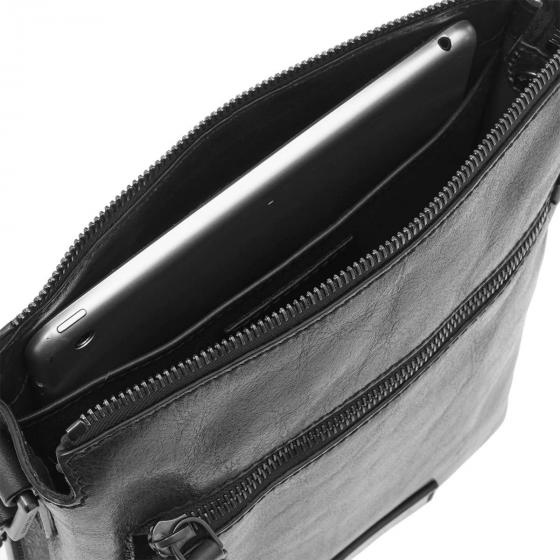 Kallio Umhängetasche Leder 25 cm schwarz
