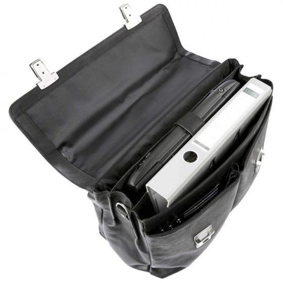 Aktentasche Leder mit Überschlag 41.5 cm schwarz