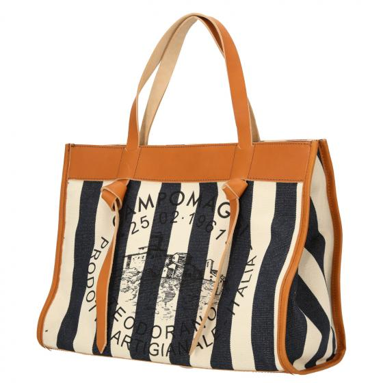 Angelica Shopper M 38 cm natural blue stripes black print