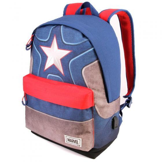 Marvel Captain America Laptop-Rucksack mit USB-Anschluss 42 cm blue/red