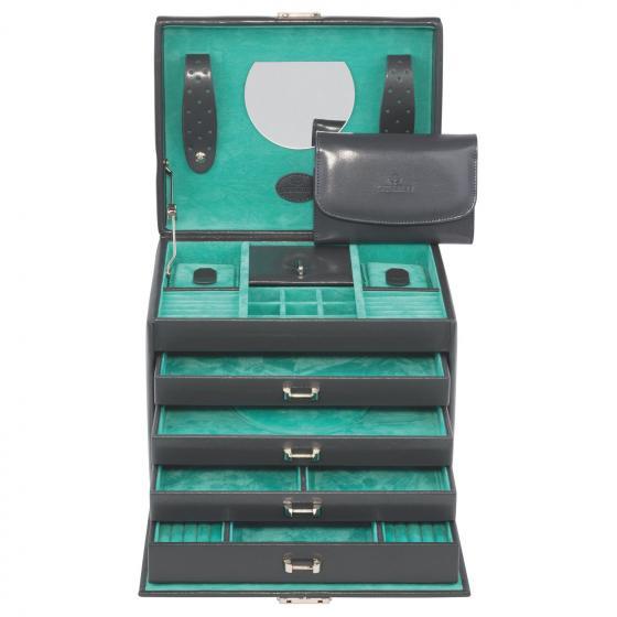 Merino Moda Schmuckkoffer mit integrierter Schmucktasche 26 cm anthrazit