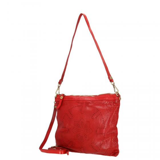 Pochette Schultertasche Leder 27 cm red