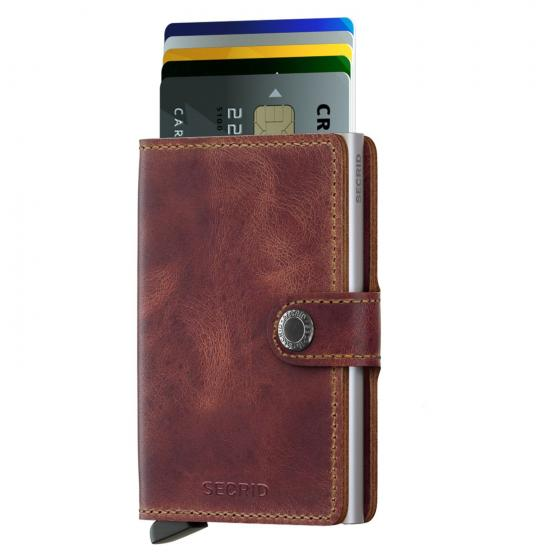 Vintage Miniwallet Geldbörse RFID 6.5 cm brown