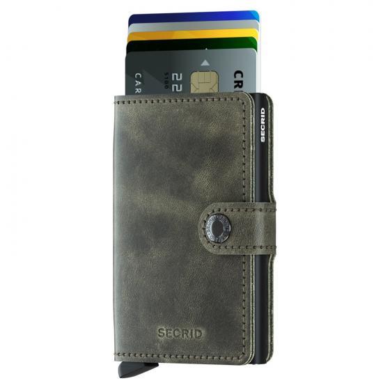 Vintage Miniwallet Geldbörse RFID 6.5 cm olive-black