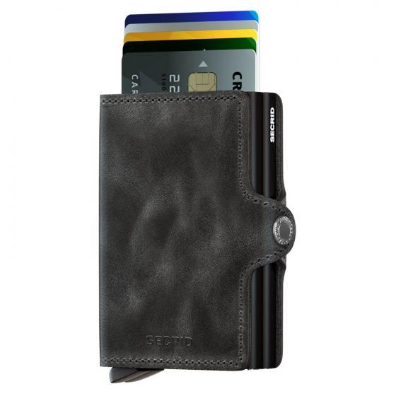 Vintage Twinwallet Geldbörse RFID 7 cm black
