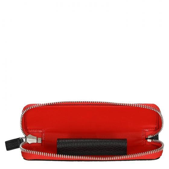 Meisterstück Soft Grain Etui für Schreibgerät mit Reisßverschluss 16 cm black/red