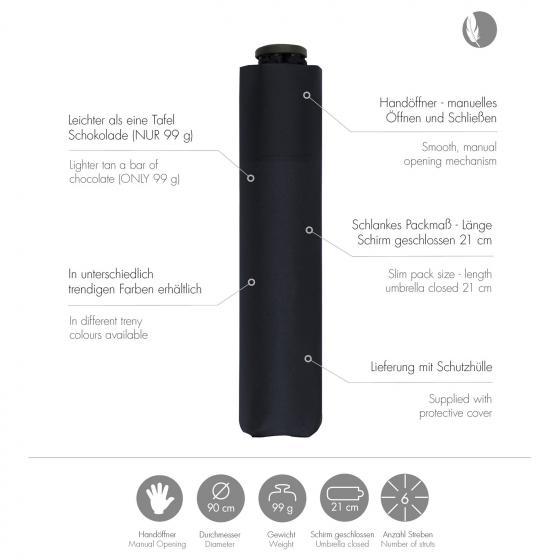 doppler Zero 99 leicht Taschenschirm / Regenschirm simply black