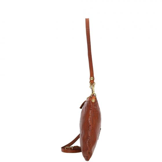 Pochette Schultertasche Leder 27 cm cognac