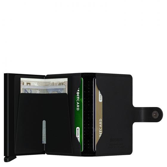 Perforated Miniwallet Börse mit RFID Schutz 6.5 cm black