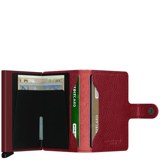 Vegetable Tanned Miniwallet Börse mit RFID Schutz 6.5 cm rosso-bordeaux
