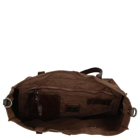 Shopper 32 cm military brown stained black print