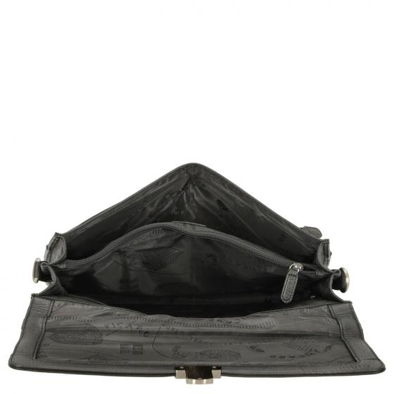 Retro Aktentasche aus Rindleder 37 cm schwarz